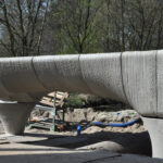 The 29.5 meters 3D printed concrete Bridge is being placed